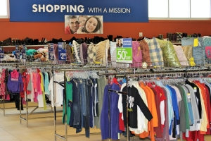 Rows of clothes for sale at the New Milford store.